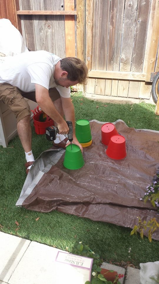 Gutters cut to length at Home Depot / Drilling holes in gutters and pots